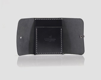 Mens Leather Trifold Wallet, Black Trifold Wallet, Mens Unique Wallet, Trifold Leather Wallet Handmade, Mens Black Leather Wallet, For Mens