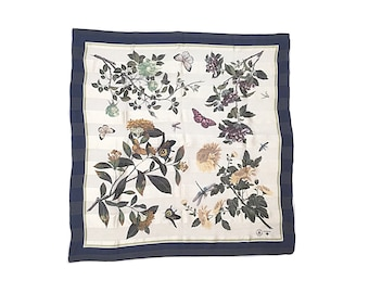 Butterfly Scarf, XL butterfly print scarf,  Floral scarf, Vintage Scarf, gardener gift,  blue, Navy, gardener gift, botanical print