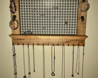 Solid Cherry Wood Wall Mounted Jewelry Organizer
