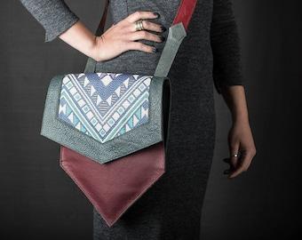 Hexagon Handbag: Plum & Green Leather with Geometric Fabric Insert