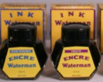 Waterman Collection (6) Ink Bottles v0503 France 2 oz blue green red black Clear Glass Vintage Fountain Pen Ink Bottle Antique Collectible