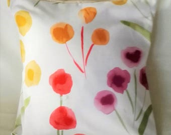 White Floral Printed Cushion cover/ red yellow purple  Floral cushion cover/ 16x16'' Square decorative cushion cover/ cotton cushion cover