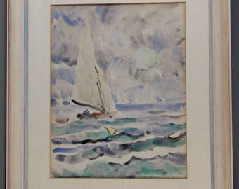 Summer day on the Havel, Rudolf Allner, Watercolor signed and dated, 3.9.50