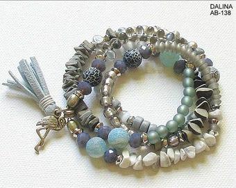 Wrap bracelet, beaded bracelet, bracelet, necklace, jewelry, beaded jewelry, silver, tassel, flamingo, light grey, dark grey, white, unique, gift for you