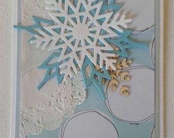 Snowflake card - wood and lace