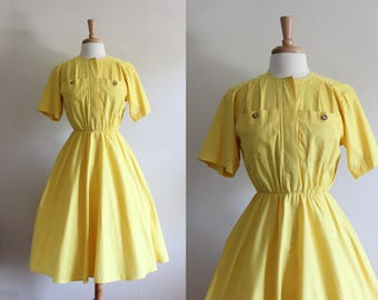 Vintage 1980s does 1950s Yellow Full Skirt Day Dress