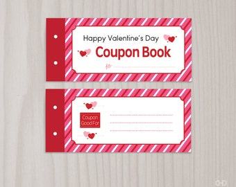 Blank Printable Valentine's Day Coupon Book, Love Coupons, Wife Husband Boyfriend Girlfriend Dad Mom from Kids Last Minute Instant Download