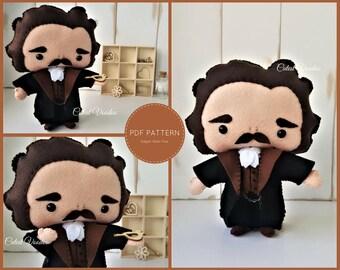 PDF PATTERN. Edgar Allan Poe Plush PDF Felt Pattern