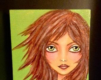 ORIGINAL Acrylic Painting EMMA on Canvas - Miniature - Girl Portrait Art - Hand Painted - NOT a print