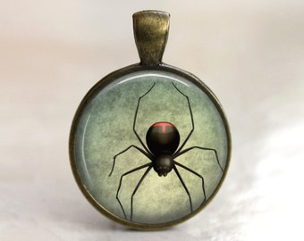 Black Widow Pendant, Necklace or Key Chain - Choice of 4 Metal Colors - Halloween Spider
