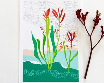 Flower print, botanical illustration, australian flower, Kangaroo Paw, Art print