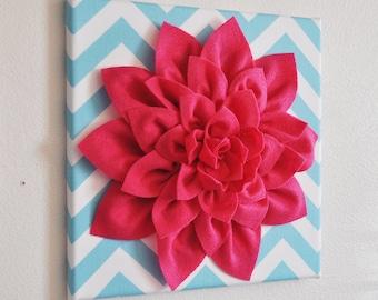 "Wall Flower -Hot Pink Dahlia on Aqua and White Chevron 12 x12"" Canvas Wall Art- 3D Felt Flower"