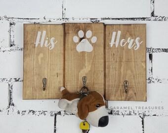 wooden key holder, wall key holder, his hers dog key holder, dog owner gift, gift for boyfriend, house warming gift, gift for couple, hooks