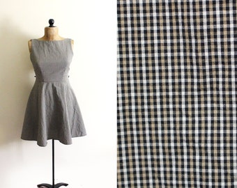 vintage dress 90s party plaid tan 1990s 50s womens clothing size small s 4 6