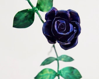 Tiny Violet Copper Rose Metal Sculpture