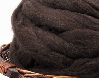 Dark Brown New Zealand Corriedale Wool Top Roving  - Undyed Natural Spinning & Felting Fiber / 1oz