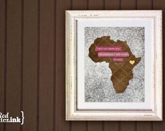 Adoption Wall Print - Africa (brown, yellow, pink/blue/green, gray)  John 14:18 - 8 x 10 Print