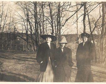 "Vintage Photo ""A Walk In The Woods"" Women Wearing Great Hats Victorian-Era Found Vernacular Photo"