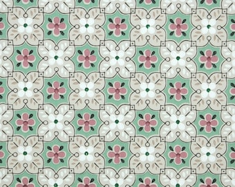 1940s Vintage Wallpaper by the Yard - Pink Green White and Taupe Geometric