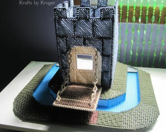 Castle with Moat Plastic Canvas Tissue Box Cover