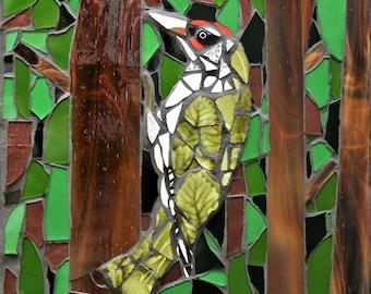 Mosaic woodpecker wall hanging