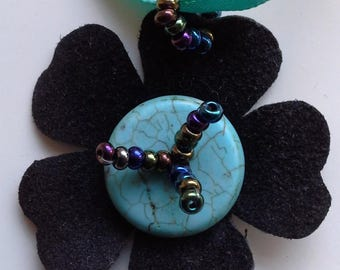 Black suede and turquoise flower necklace