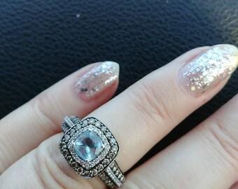 14k Gold Diamond Aquamarine Wedding Engagement Ring