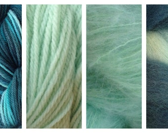Hand Dyed Samples of Merino Wool DK Sport Weight Yarn in Beach Glass Mint Green Blue Teal
