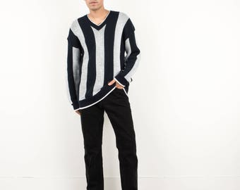 AMAZING Vintage Striped Navy Blue  and White IZOD Knit Pullover / M / 90s American hipster sweater knit  soft 100% cotton comfy fall winter