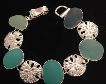 Sterling Silver Sand Dollar Bracelet With Aqua Sea Glass