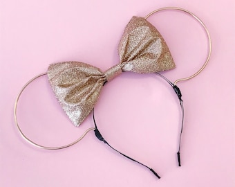 Gold Wire and Rose Gold Glitter Bow Minnie Mouse Ears Headband