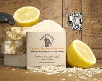 Natural and Organic Lemon, Honey & Oatmeal Soap Bar For Dogs - Dog Shampoo Soap Bars