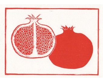 Pomegranate  Woodblock print