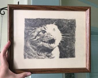 X Files Cat - Original Framed Drawing by Aiyana Udesen