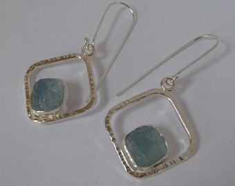 Rough blue Chalcedony silver earrings boho