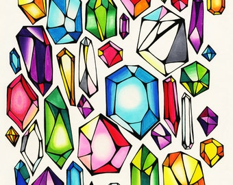 Rainbow Crystal Gemstones Illustration - Archival Print From Original Drawing