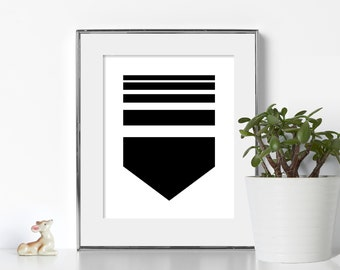 Arrow Print Digital Download Printable Art Black and White Printable Art 8x10 Print Neat Design Art Boho Wall Art Clever Design Minimal Art