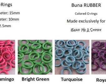 15mm Rubber Orings - Buna (NBR) Rubber - choose color