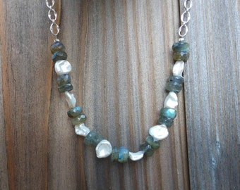 Labradorite, Freshwater Pearls and Sterling Silver Chain Necklace