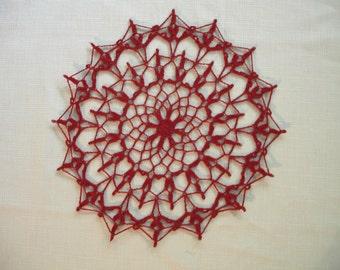 New Handmade Crocheted Serenade Doily in Cardinal 9.5