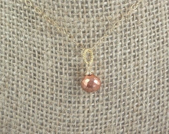 Copper Pyrite Pendant Necklace Dainty  14 k gold filled wire wrapped briolette teardrop