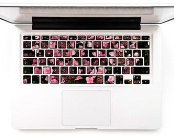 Macbook Decal Keyboard Sticker for Macbook Lenovo Asus Sony Dell HP Acer Samsung Toshiba Floral Flower Pink Flowers # Dark Pink Hydrangeas