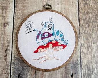 Alice in Wonderland Embroidery.  Absolem, Hoop Art.  Hand Embroidery.  Alice in Wonderland.  Wall Art,