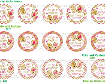 PB and J Digital Bottle Cap Images- Instant Download- Peanut Butter and Jelly- We Stick Together- Better Together- Best Friends- PB and J