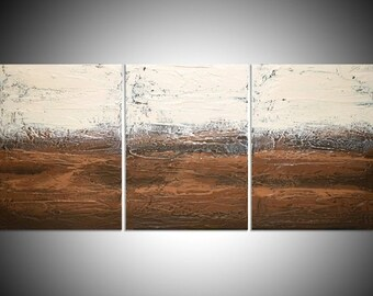 """triptych large affordable wall art affordable 3 panel abstract acrylic brown gift multi panel canvas painting for earth neutral 27 x 12 """""""