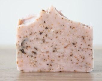 Rose Clay Soap, Scrub Soap, Exfoliating Soap Bar, All Natural Soap, Handmade Soap, Cold Process Soap, Vegan Soap,