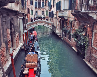 Venice canal photography Italy photo print Large wall art Romantic picture Gondola photo Home wall decor Travel photography Europe photo