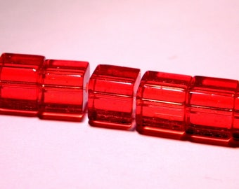 translucent glass - 8 mm-red-PG48 cube 20 beads
