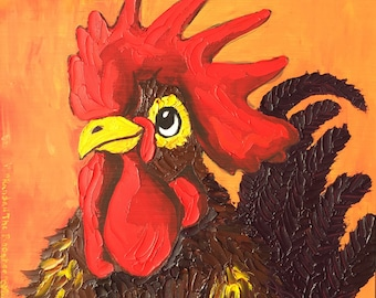 Rooster painting original art