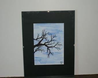 Original watercolor tree on Blue 10.5 cm * 14.5 cm